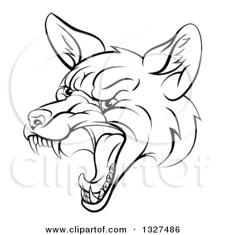 Clipart of a Black and White Mad Fox Face - Royalty Free Vector Illustration by AtStockIllustration