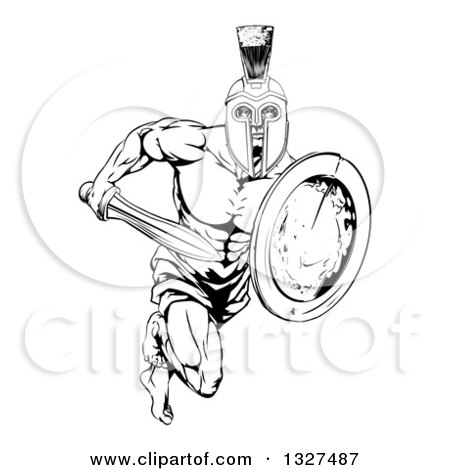 Clipart of a Black and White Gladiator Man in a Helmet Sprinting with a Sword and Shield - Royalty Free Vector Illustration by AtStockIllustration