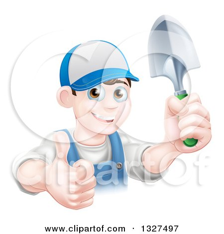 Clipart of a Young Brunette White Male Gardener in Blue, Holding up a Shovel and Giving a Thumb up - Royalty Free Vector Illustration by AtStockIllustration