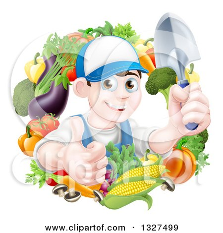 Clipart of a Young Brunette White Male Gardener in Blue, Holding up a Shovel and Giving a Thumb up in a Wreath of Produce - Royalty Free Vector Illustration by AtStockIllustration