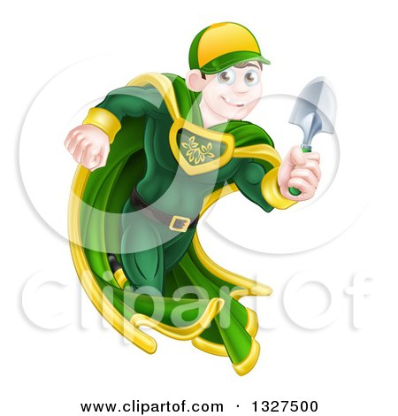 Clipart of a Brunette Caucasian Male Super Hero Running with a Garden Trowel - Royalty Free Vector Illustration by AtStockIllustration
