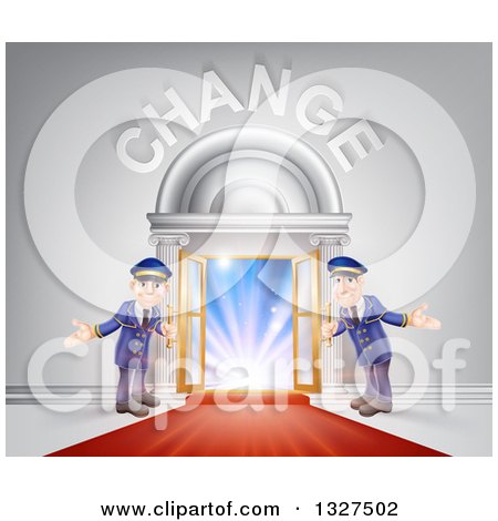 Clipart of Welcoming Door Men at an Entry with a Red Carpet Under Change Text - Royalty Free Vector Illustration by AtStockIllustration