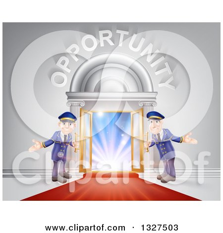 Clipart of Welcoming Door Men at an Entry with a Red Carpet Under Opportunity Text - Royalty Free Vector Illustration by AtStockIllustration