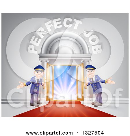 Clipart of Welcoming Door Men at an Entry with a Red Carpet Under Perfect Job Text - Royalty Free Vector Illustration by AtStockIllustration