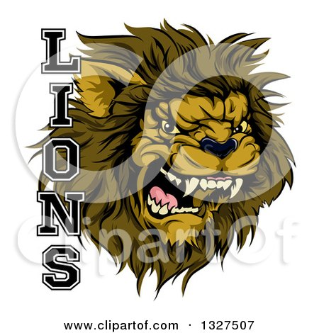 Clipart of a Aggressive Male Lion Roaring Mascot and Text - Royalty Free Vector Illustration by AtStockIllustration