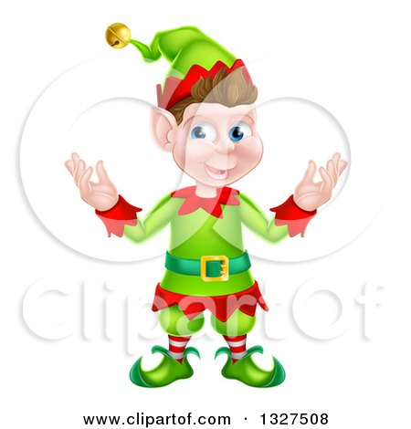 Clipart of a Welcoming Young Brunette White Male Christmas Elf - Royalty Free Vector Illustration by AtStockIllustration