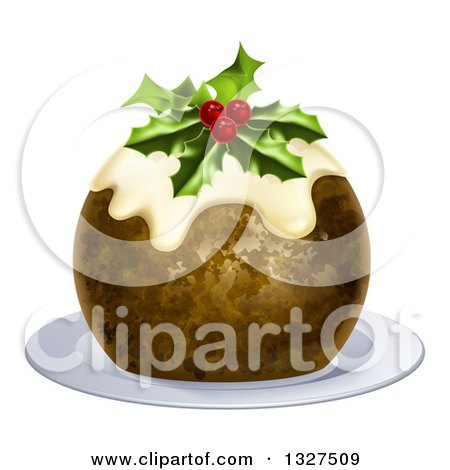 Clipart of a 3d Christmas Pudding Cake Garnished with Holly and Berries, on a White Plate - Royalty Free Vector Illustration by AtStockIllustration