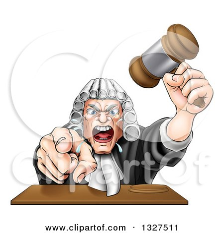 Clipart of a Cartoon Fierce Angry White Male Judge Spitting, Holding a Gavel and Pointing at the Viewer - Royalty Free Vector Illustration by AtStockIllustration