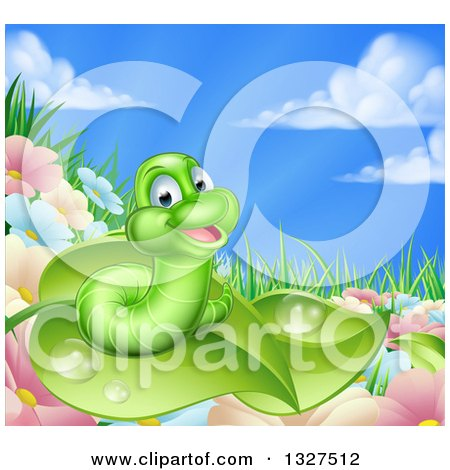 Clipart of a Cartoon Happy Green Worm on a Leaf over Flowers in a Meadow - Royalty Free Vector Illustration by AtStockIllustration