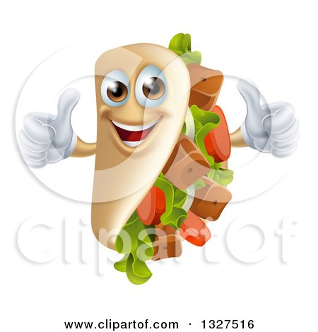 Clipart of a Cartoon Souvlaki Kebab Sandwich Mascot Giving Two Thumbs up - Royalty Free Vector Illustration by AtStockIllustration