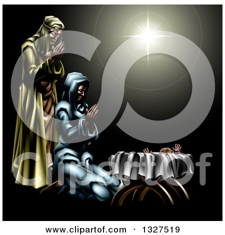 Nativity Scene of the Star, Praying Joseph and Mary and Baby Jesus Posters, Art Prints