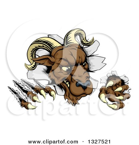 Clipart of a Brown Vicious Ram Monster Clawing Through a Wall 2 - Royalty Free Vector Illustration by AtStockIllustration