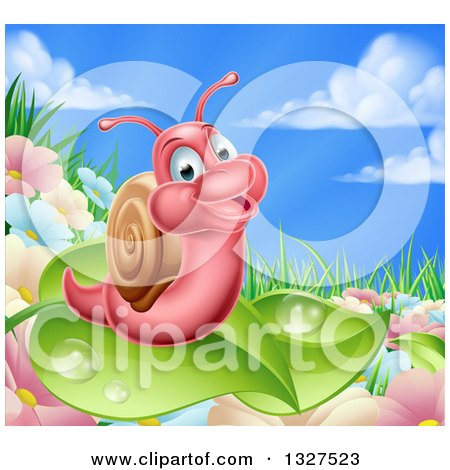 Clipart of a Cartoon Happy Pink Snail on a Leaf over Flowers in a Meadow - Royalty Free Vector Illustration by AtStockIllustration