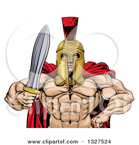 Clipart of a Shirtless Muscular Gladiator Gladiator Man in a Helmet, Holding out a Sword, from the Waist up - Royalty Free Vector Illustration by AtStockIllustration