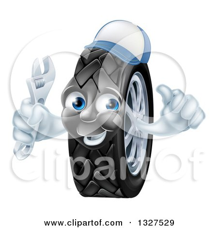 Clipart of a Happy Tire Character Wearing a Baseball Cap, Giving a Thumb up and Holding a Wrench 2 - Royalty Free Vector Illustration by AtStockIllustration