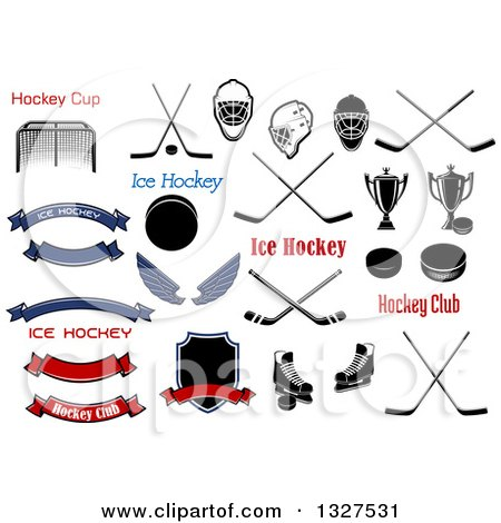 Clipart of Ice Hockey Accessories - Royalty Free Vector Illustration by Vector Tradition SM
