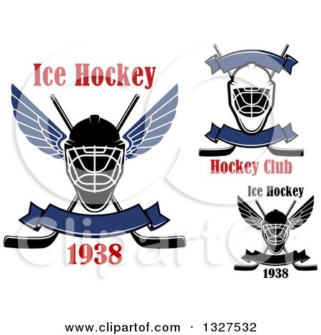 Clipart of Ice Hockey Masks and Sticks with Text - Royalty Free Vector Illustration by Vector Tradition SM
