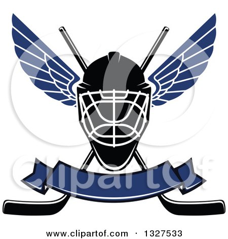 Clipart of a Winged Ice Hockey Mask over Crossed Sticks and a Blank Blue Banner - Royalty Free Vector Illustration by Vector Tradition SM