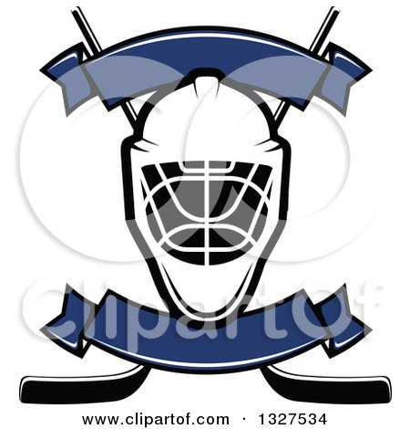 Clipart of an Ice Hockey Mask over Crossed Sticks with Blank Blue Banners - Royalty Free Vector Illustration by Vector Tradition SM