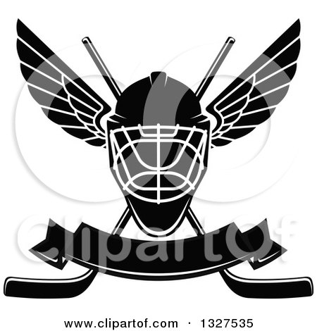 Clipart of a Black and White Winged Ice Hockey Mask over Crossed Sticks and a Blank Banner - Royalty Free Vector Illustration by Vector Tradition SM