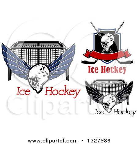Clipart of Ice Hockey Masks, Sticks, Shields and Goals with Text - Royalty Free Vector Illustration by Vector Tradition SM