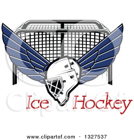 Clipart of a Winged Ice Hockey Mask over Text and a Goal - Royalty Free Vector Illustration by Vector Tradition SM