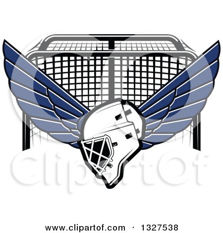 Clipart of a Winged Ice Hockey Mask over a Goal - Royalty Free Vector Illustration by Vector Tradition SM