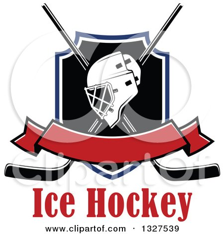 Clipart of an Ice Hockey Mask over Crossed Sticks and a Shield with Text and Blank Red Banner - Royalty Free Vector Illustration by Vector Tradition SM
