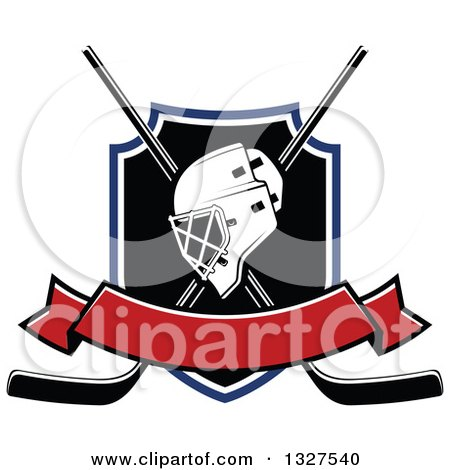 Clipart of an Ice Hockey Mask over Crossed Sticks and a Shield with Blank Red Banner - Royalty Free Vector Illustration by Vector Tradition SM