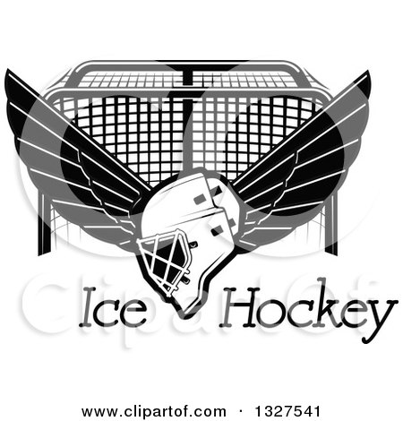 Clipart of a Black and White Winged Ice Hockey Mask over Text and a Goal - Royalty Free Vector Illustration by Vector Tradition SM