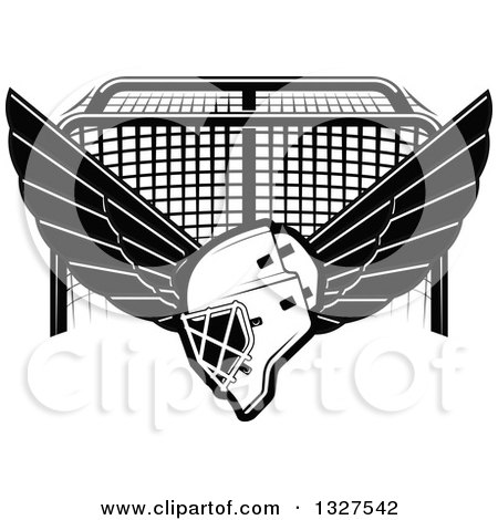 Clipart of a Black and White Winged Ice Hockey Mask over a Goal - Royalty Free Vector Illustration by Vector Tradition SM