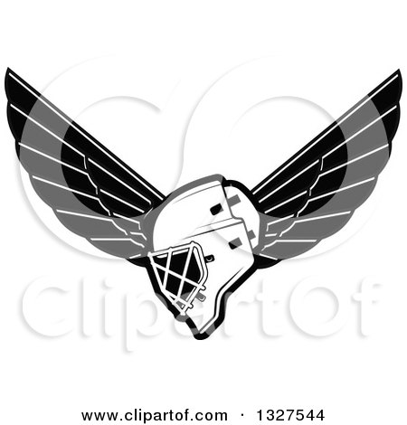 Clipart of a Black and White Winged Ice Hockey Mask - Royalty Free Vector Illustration by Vector Tradition SM