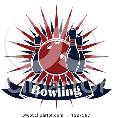 Clipart of a Navy Blue and Red Bowling Ball and Pins over a Burst and Text Banner - Royalty Free Vector Illustration by Vector Tradition SM