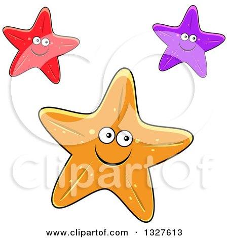 Clipart of Cartoon Red, Purple and Orange Starfish ...