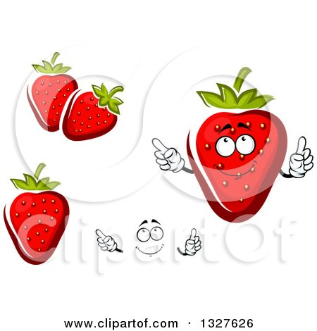 Clipart of a Cartoon Face, Hands and Strawberries - Royalty Free Vector Illustration by Vector Tradition SM