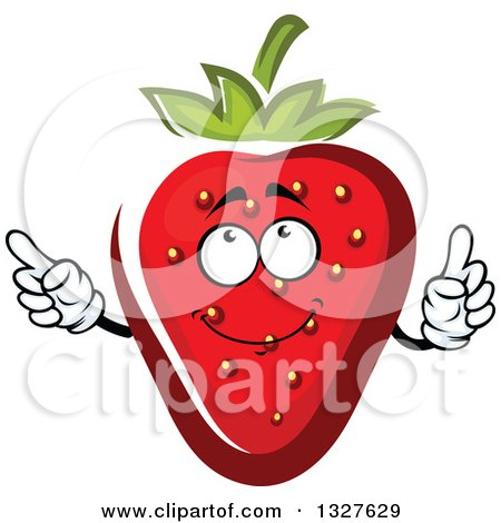 Clipart of a Cartoon Strawberry Character Holding up a Finger - Royalty Free Vector Illustration by Vector Tradition SM
