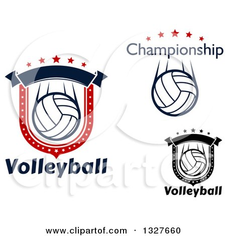 Clipart of Volleyball Shields with Text and Stars - Royalty Free Vector Illustration by Vector Tradition SM