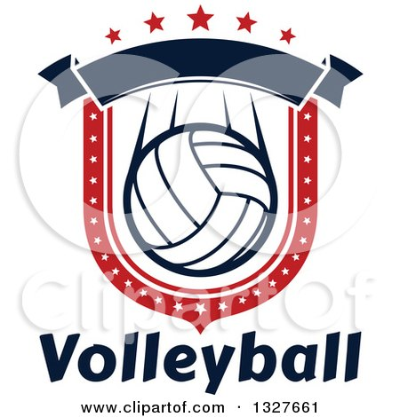 Clipart of a Red White and Blue Volleyball Shield with Stars and a Blank Banner over Text - Royalty Free Vector Illustration by Vector Tradition SM