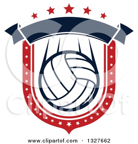Clipart of a Red White and Blue Volleyball Shield with Stars and a Blank Banner - Royalty Free Vector Illustration by Vector Tradition SM