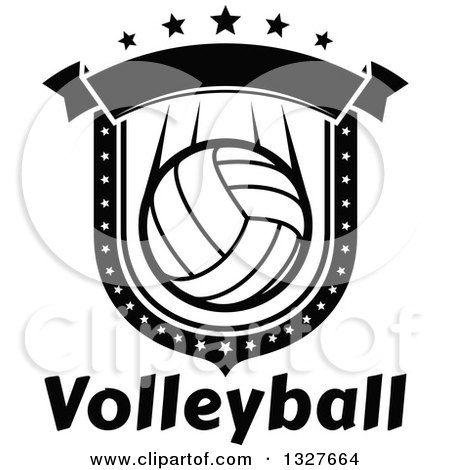 Clipart of a Black and White Volleyball Shield with Stars and a Blank Banner over Text - Royalty Free Vector Illustration by Vector Tradition SM