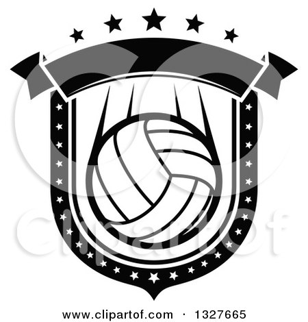 Clipart of a Black and White Volleyball Shield with Stars and a Blank Banner - Royalty Free Vector Illustration by Vector Tradition SM