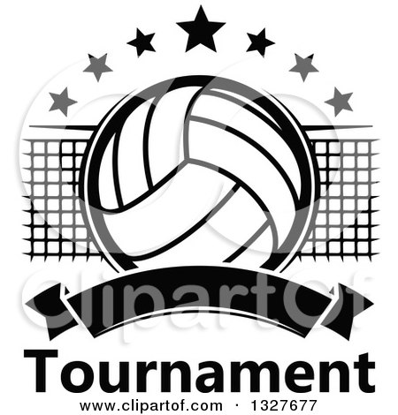 Clipart of a black and white volleyball with stars a net and clipart of a black and white volleyball with stars a net and blank banner over tournament text royalty free vector illustration by vector tradition sm sciox Gallery
