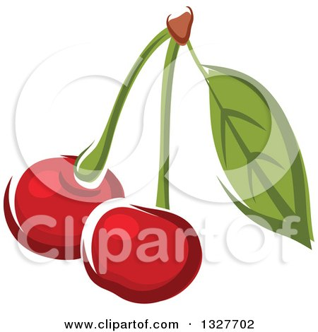 Clipart of Cartoon Cherries on a Stem with a Leaf - Royalty Free Vector Illustration by Vector Tradition SM