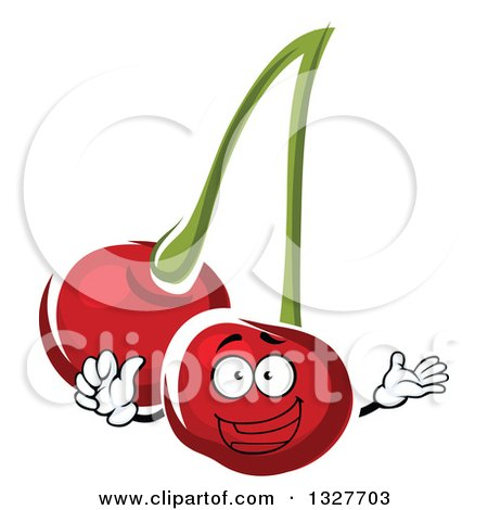 Clipart of a Happy Cartoon Cherry Character Presenting and Giving a Thumb up - Royalty Free Vector Illustration by Vector Tradition SM