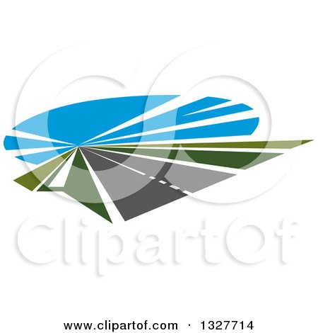 Clipart of a Highway Road with Green Grass and Blue Sky - Royalty Free Vector Illustration by Vector Tradition SM