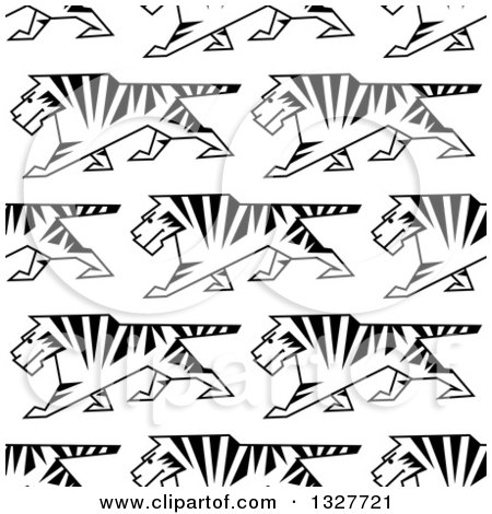 Clipart of a Seamless Background Pattern of Sketched Walking Tigers - Royalty Free Vector Illustration by Vector Tradition SM