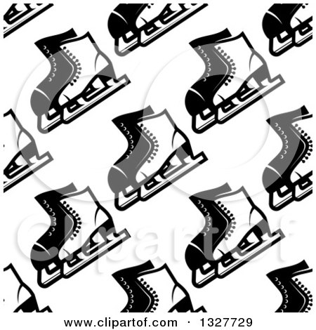 Clipart of a Seamless Background Pattern of Black and White Ice Skates - Royalty Free Vector Illustration by Vector Tradition SM