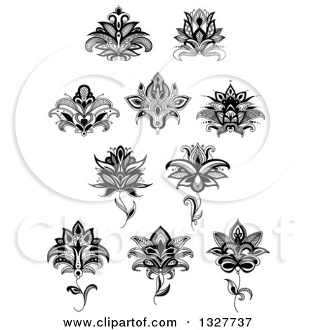 Clipart of a black and white henna and lotus flowers 16 royalty clipart of a black and white henna and lotus flowers 16 royalty free vector illustration by vector tradition sm mightylinksfo