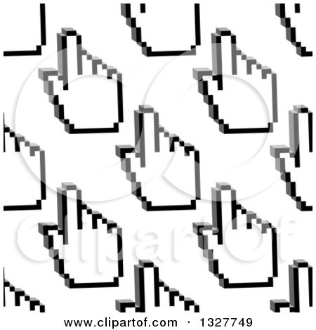 Clipart of a Seamless Background Pattern of Grayscale Hand Cursors ...