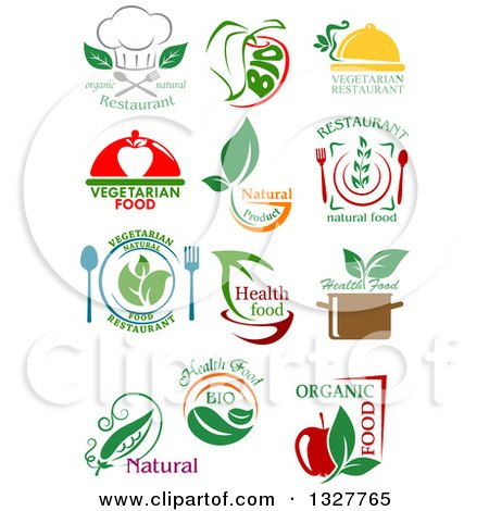 Clipart of Natural and Organic Food Designs - Royalty Free Vector Illustration by Vector Tradition SM